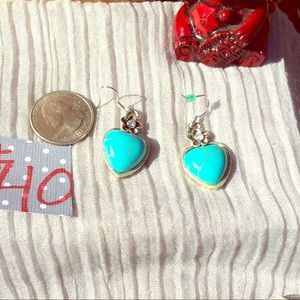 Vintage Silver & Turquoise Brighton Heart Earrings